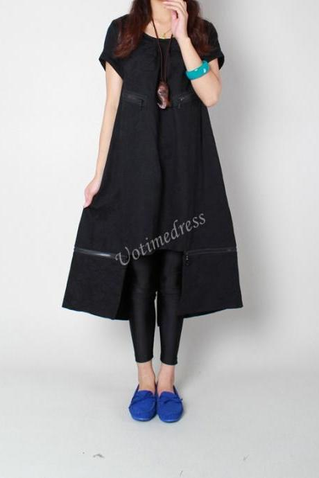 Black Loose Long Dress Women Stereoscopic Detachable Dress