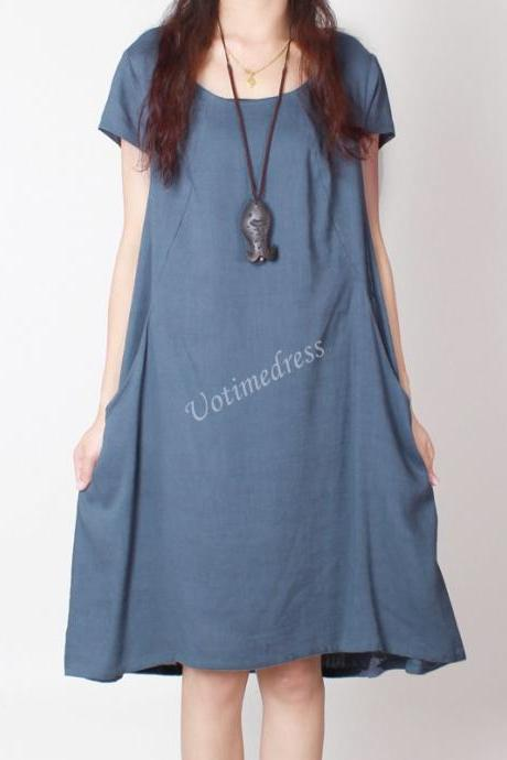 Blue Summer Women Cotton Linen Dress Tunic Loose Short Skirt
