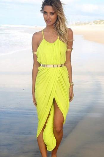 Sexy Bohemian Spaghetti Strap Asymmetrical Ankle Length Yellow Dress(Waistband Not Included)