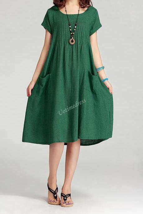 Grass Green Women Cotton Linen Long Dress Casual Skirt 2015 Summer Dress