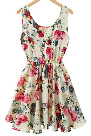 Sleeveless Floral Printed A Line Dress