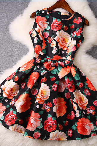 Round neck sleeveless flower print dress waist bow