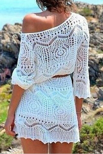 Openwork crochet lace dress