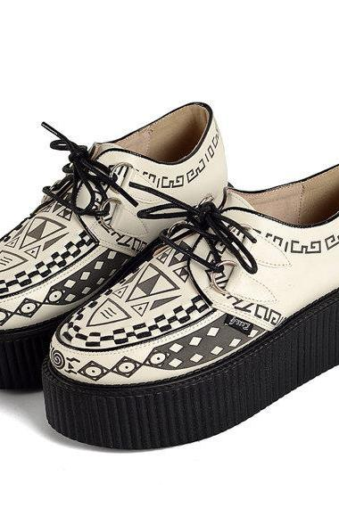 Women's Graffiti pattern Genuine Suede Fashion Sexy Lace UP Flat Platform Shoes Goth Creepers Punk Casual Warm Creeper Shoes White