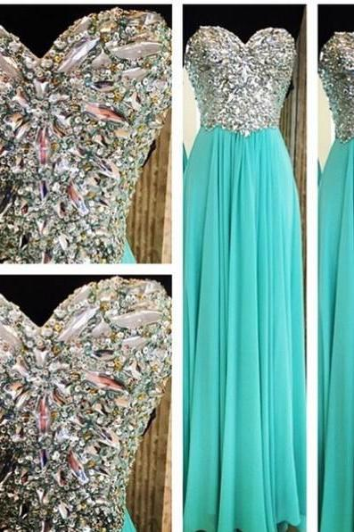 2015 Real Made Beading Prom Dresses, Sweetheart Floor-Length Evening Dresses, Prom Dresses,Chiffon Sequins Evening Dresses,Prom Dresses On Sale