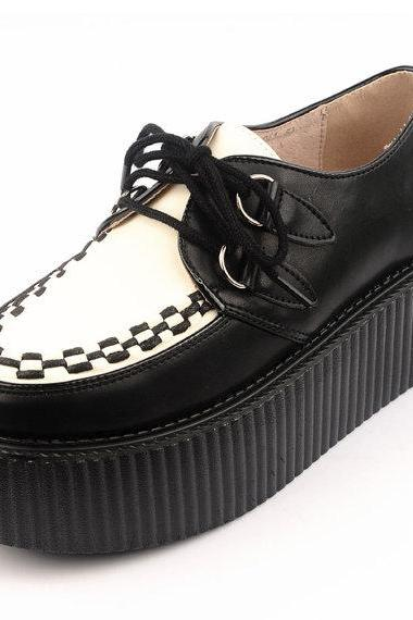 Women's Fashion Handmade White Black Leather Lace Up Flat Platform Sexy Goth Creepers Punk Casual Creepers Shoes Loafers sneakers