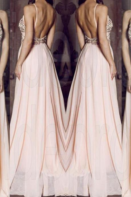 Pink Long Prom Dresses, Straps Prom Gowns,Beaded Evening Dresses, Backless Evening Gowns, Cocktail Dresses Custom