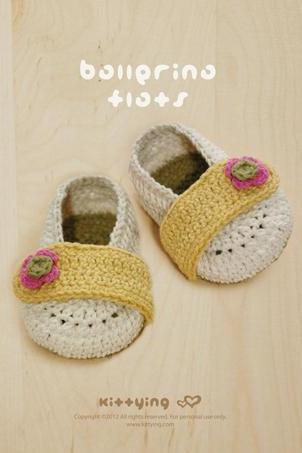 Crochet Pattern Baby Ballerina Flats - Written Pattern & Chart by kittying (BF01-W-PAT)