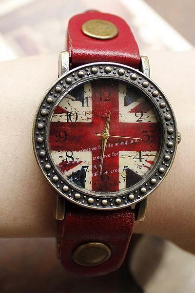 new Fashion Red British Flag Watches