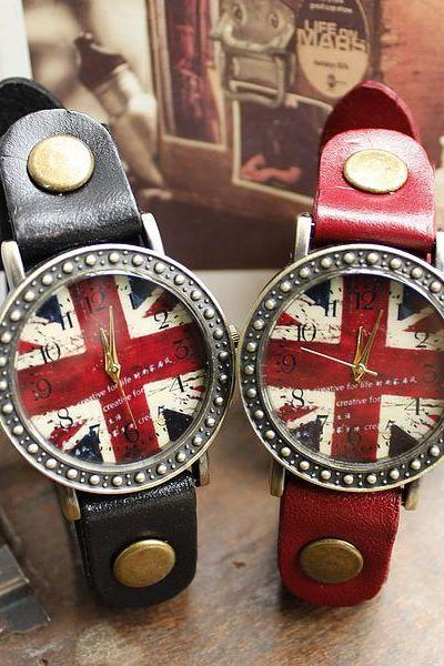 Retro Fashion Red British Flag Watches
