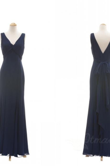 V-neck Straps Chiffon Bridesmaid Dress Evening Dresses Long Prom Dress Spd050