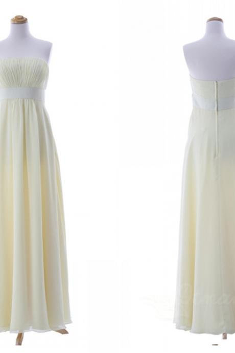 Champagne Strapless Chiffon Bridesmaid Dress Evening Dresses Long Prom Dress Spd062