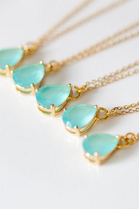 Bridesmaid Gifts - Set Of 5 - Teardrop Glass Gold Chain Necklaces