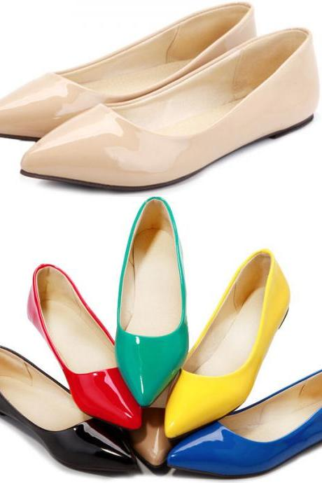 Patent Leather Pointed-Toe Flats in Candy Colours