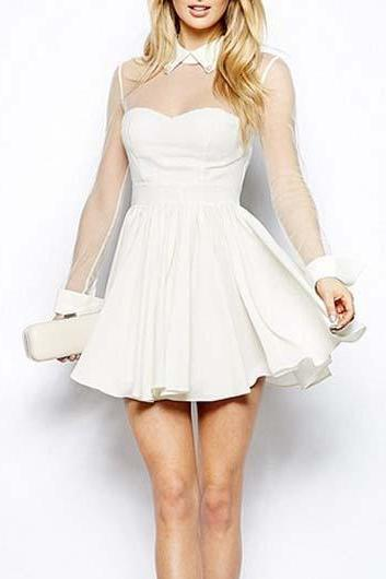 Fresh Shirt Collar Sleeveless White A Line Dress