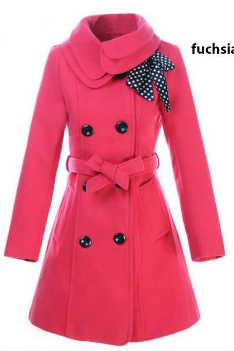 Pink Double Breasted Wool Trench Coat with Scarf