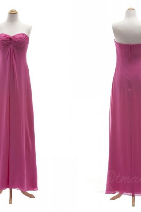 Sweetheart Collar Backless Chiffon Bridesmaid Dress Evening Dresses Long Prom Dress Spd064
