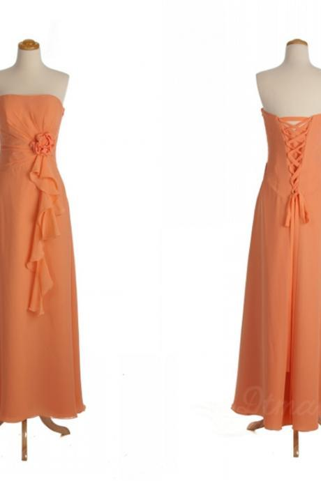 Custom Made Orange Strapless Bandeau Neckline Ruffled Chiffon Evening Dress, Prom Dresses, Bridesmaid Dresses