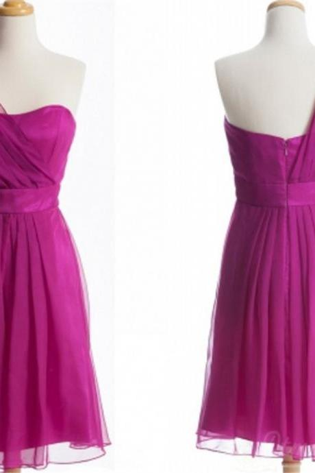 One Shoulder Chiffon Bridesmaid Dress Short Prom Dress Evening Dresses Spd177