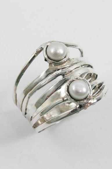 Pearl ring. Sterling silver ring. Silver pearl ring. Wide silver ring. Wide pearl ring. Gift for her. Pearl jewelry