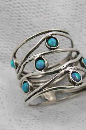 Opal ring. Wide sterling silver big ocean wave opal ring (sr-9904). birthday gift for mom sister wife, opal jewelry