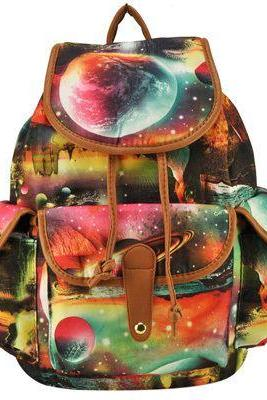 Student cool unisex moon print canvas backpack