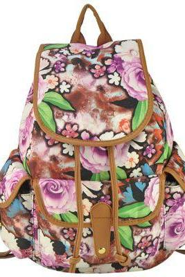 Flowers design canvas girl fashion school backpack