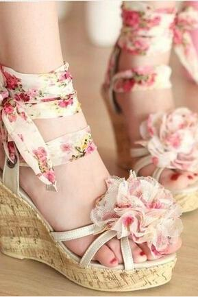 Lace-Up Floral Wedge Sandals with Ruffles on the Front