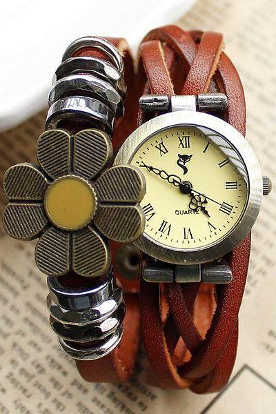 Cute Handmade Weave Sunflower Bracelet Watch-Brown
