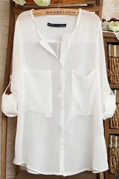 White Chiffon Button Down Shirt Featuring Pocket Accents and Tab Sleeves