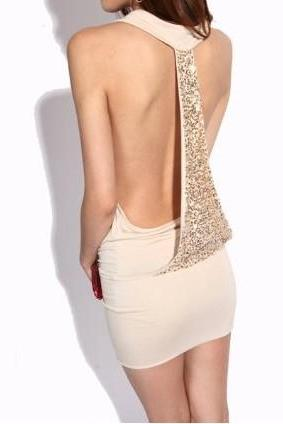 Beige Krazy Backless Sexy Sequined Dress
