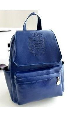 Fashion college girl blue Pu leather cool backpack