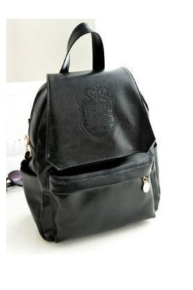 Fashion college girl black Pu leather cool backpack