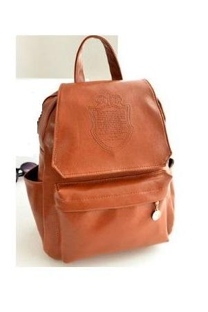 Fashion college girl brown Pu leather cool backpack