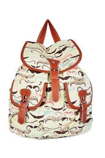 Mustache print teen fashion girl backpack
