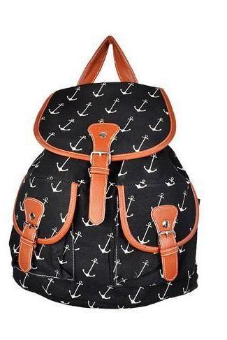 Anchor print canvas school girl backpack