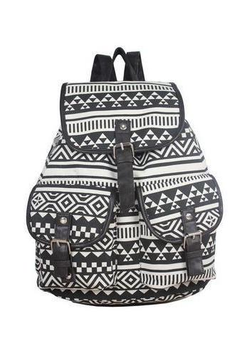 Black-white canvas camping girl backpack