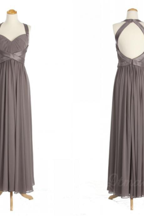 Halter Ruched Chiffon A-line Floor-Length Bridesmaid Dress, Prom Dress, Evening Dress Featuring Open Back