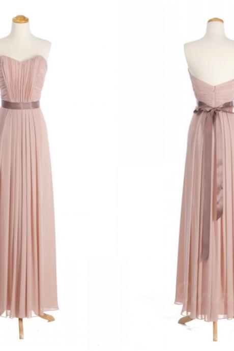 Long Chiffon A-Line Evening Dress Featuring Ruched Sweetheart Bodice with Bow Accent Belt