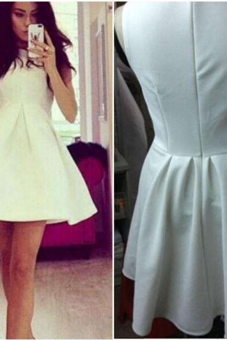 Sexy White Sleeveless Mini Dress BVX01