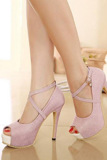 Gorgeous Cross Strap Pink Peep Toe Pumps