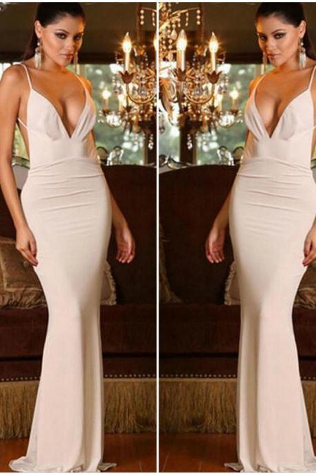 White V Neck Long Goddess Dress