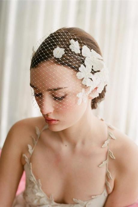 New Elegant White Flower Birdcage Face Veil Bridal Fascinators Wedding Blusher Veil Wedding Accessories, Wedding Veil Bandeau Style,wedding hair accessory