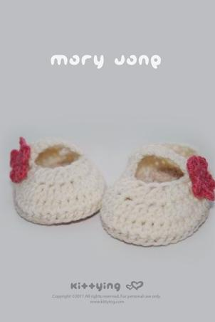 Crochet Pattern - Off White Mary Jane Baby Booties Preemie Shoes Newborn Socks Ballerina Baby Slippers Crochet Flower Applique (MJ01-W-PAT) by kittying