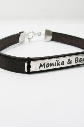 Name Leather bracelet. Personalized bracelet. Sterling silver bracelet. men gift ideas, personalized jewelry, men bracelet