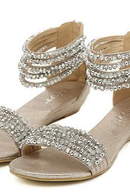 Crystal Embellished Multi-Layered Ankle Strap Sandal Flats