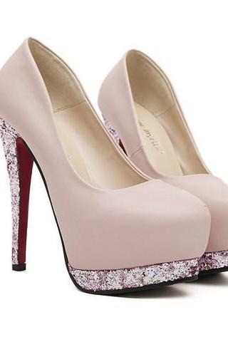 Round Toe Leather Platform Stiletto Pump with Glittery Metallic Lining