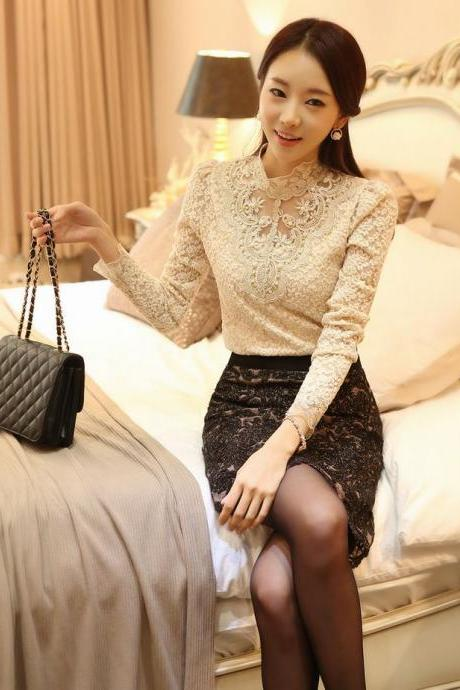 Elegant Beaded Lace Blouse