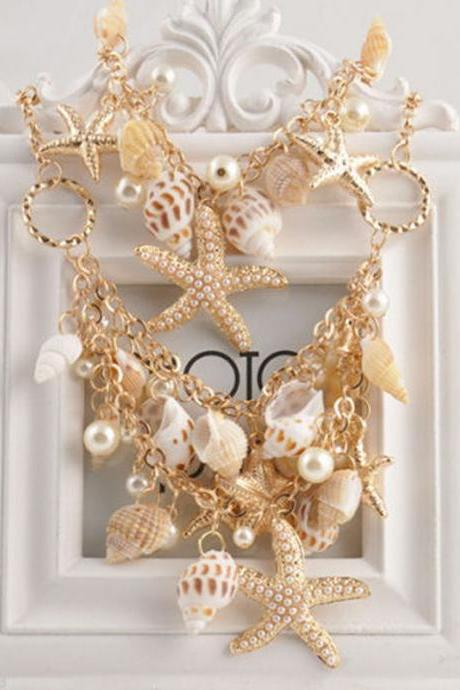 Hot Gold Chunky Tone Sea Shell Starfish Faux Pearl Bib Statement Women Necklace