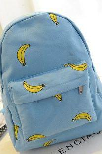 Cute Banana Print School Girl Backpack